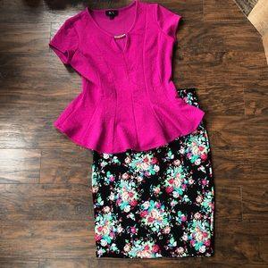 Lularoe Cassie floral skirt + peplum shirt